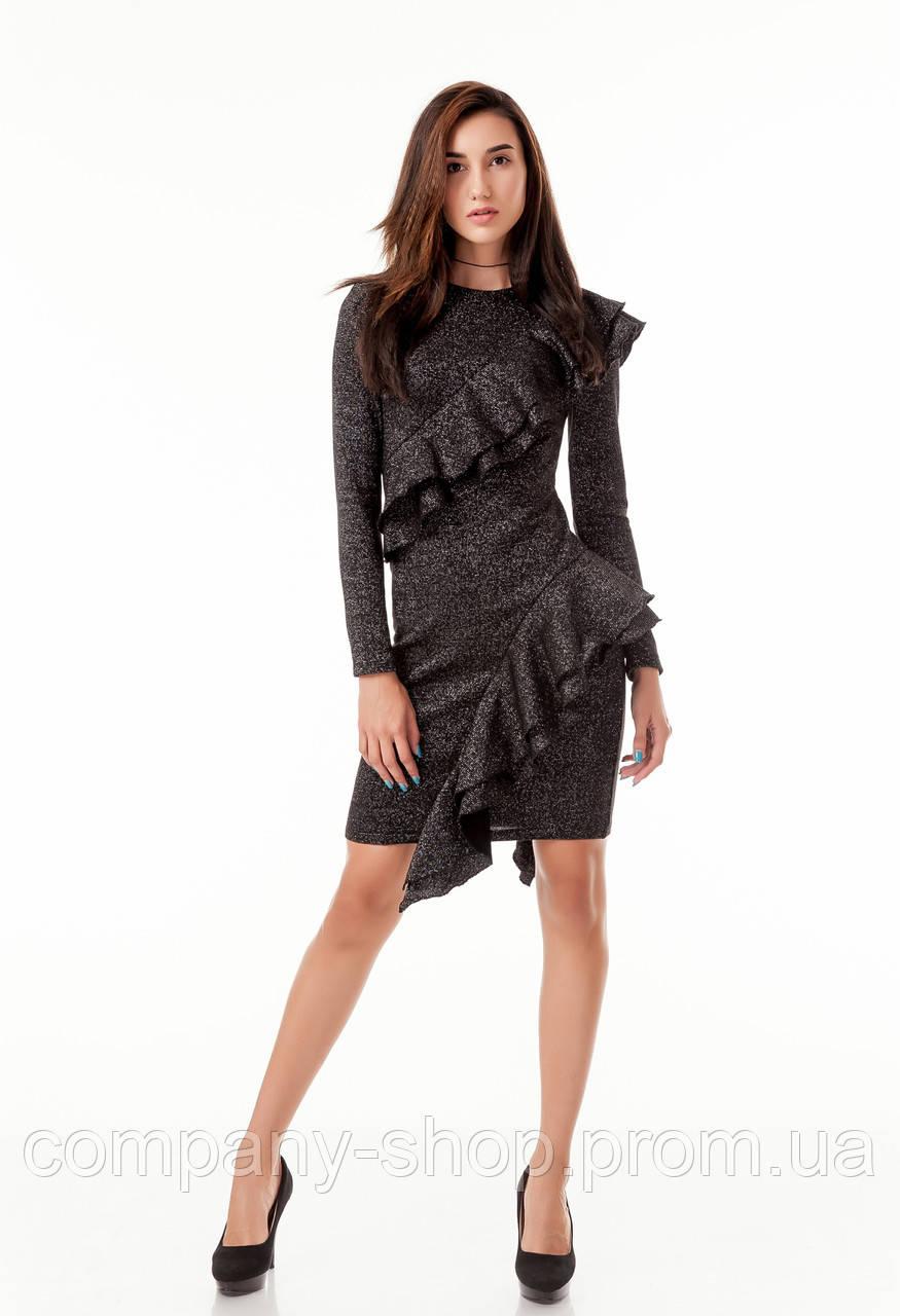 8e6fc3eb013 Стильное коктейльное платье с рюшами воланами оборками. Модель П105 черный  люрекс.