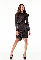 Стильное коктейльное платье с рюшами воланами оборками. Модель П105_черный люрекс., фото 1