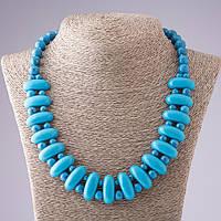 Ожерелье Клеопатра Бирюза голубая  звено 12*25 мм и шарик 10mm L50см
