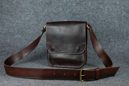 Мужская сумка через плечо |10134| Италия| Вишня