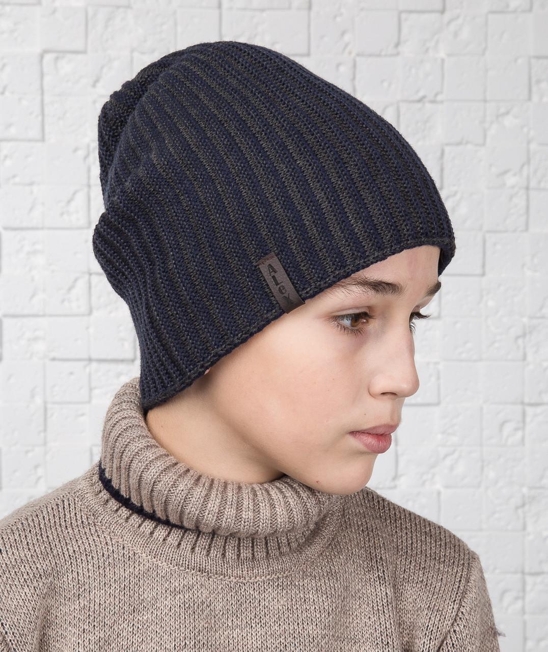 Зимняя вязаная шапка носок для мальчика подростка двухсторонняя на флисе - Артикул AL1035