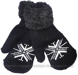 Варежки детские на мальчика E-130-1 мех снежинка (зима)