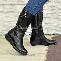 Женские зимние ботинки на невысокой платформе, натуральная кожа флотар.Широкая голень!