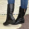 Женские зимние ботинки на невысокой платформе, натуральная кожа флотар.Широкая голень!, фото 3