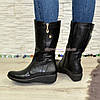 Женские зимние ботинки на невысокой платформе, натуральная кожа флотар.Широкая голень!, фото 4