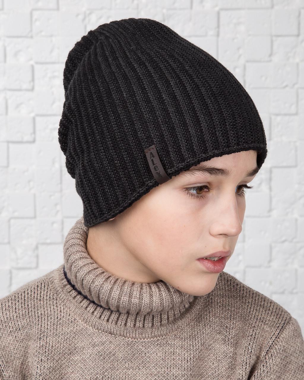 Вязаная удлиненная двусторонняя шапка на флисе для мальчика - Артикул AL17035