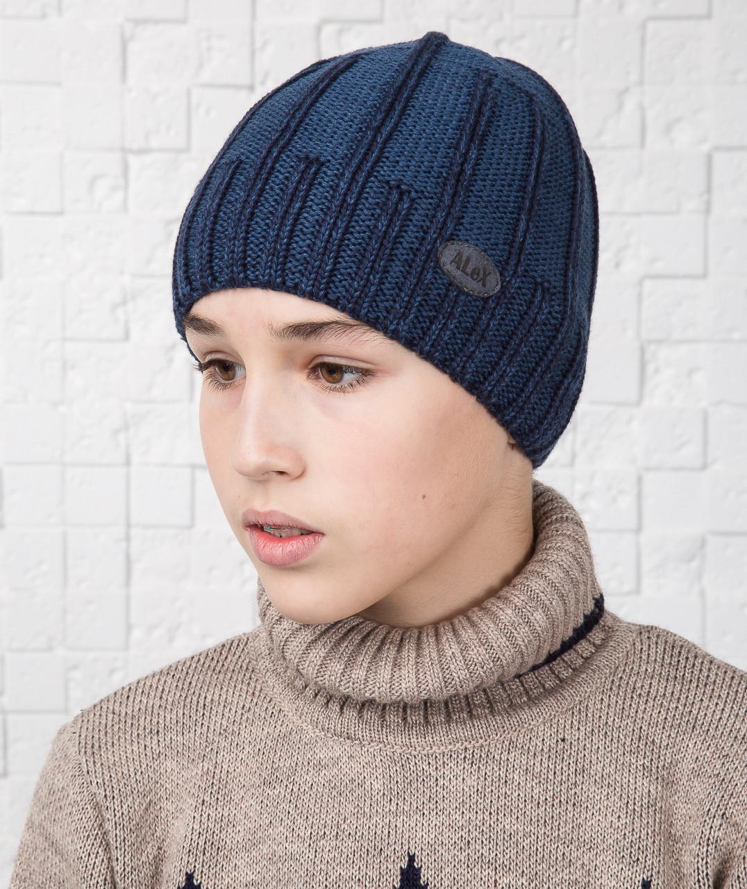 Вязаная шапка для мальчика подростка на флисе - Артикул AL17038