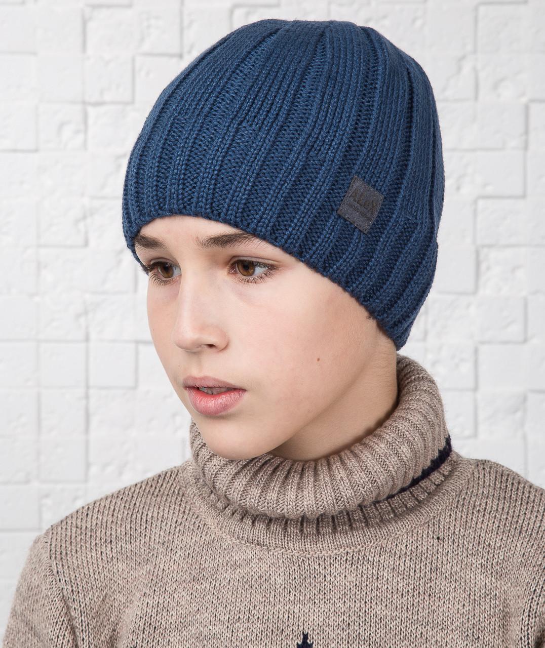 Зимняя вязаная шапка для мальчика подростка зима 2018 - Артикул AL17041