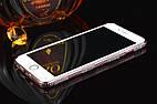 Чехол накладка на iPhone 6/6s розовое золото со стразами на боках