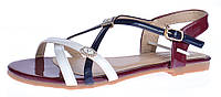 Босоножки женские Marmalade бордо синий белый на плоском ходу, Бордовый, 36