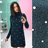 Платье-гольф модное теплое с жемчугом мини трикотаж травка разные цвета SMs1864