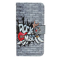 Чехол книжка для LG Q6 M700 боковой с отсеком для визиток, Rock Music