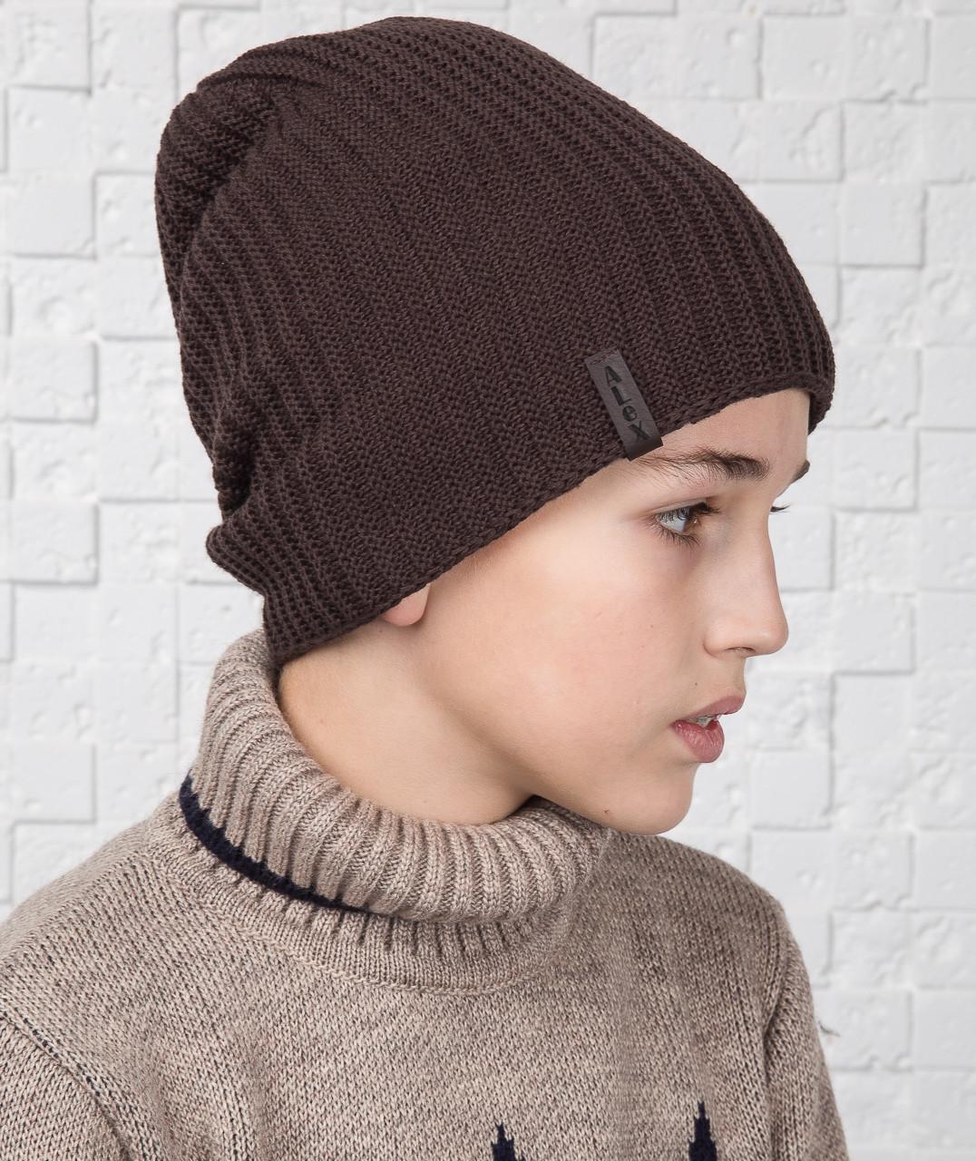 купить зимнюю двустороннюю вязаную шапку для мальчика подростка с