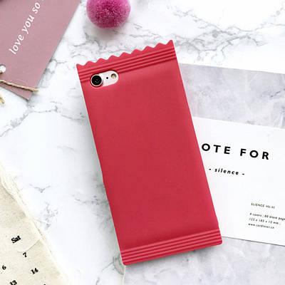 Чехол накладка на iPhone 6/6s конфетка, силикон, красный