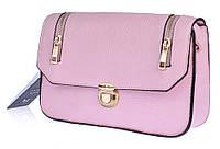 Сумка клатч женская каркасная Emma розовая с молниями, Розовый