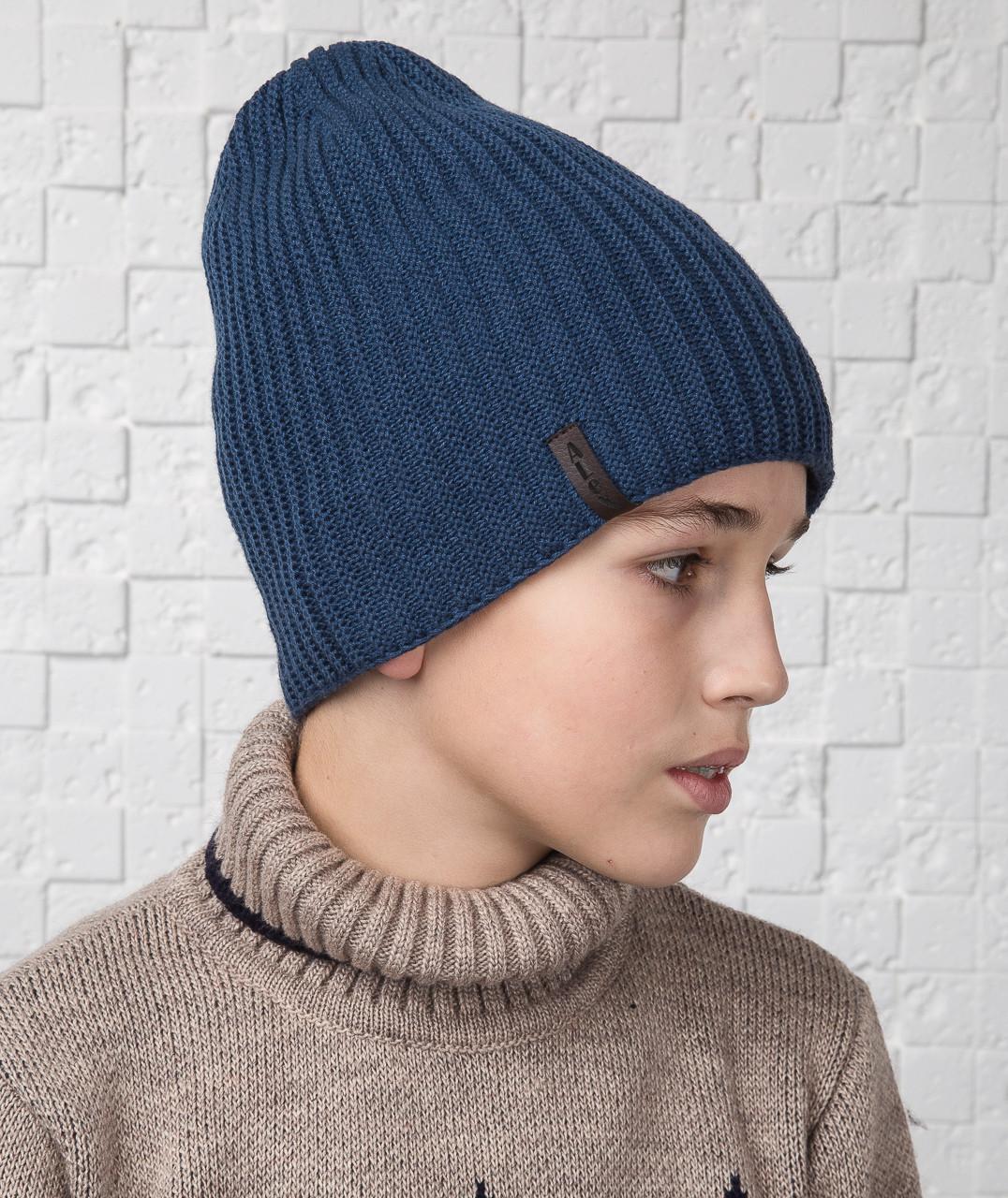 купить длинную вязаную шапку для мальчика подростка на флисе артикул Al17027 по