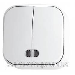 Выключатель 2 клавиши с подсветкой  белый EVA