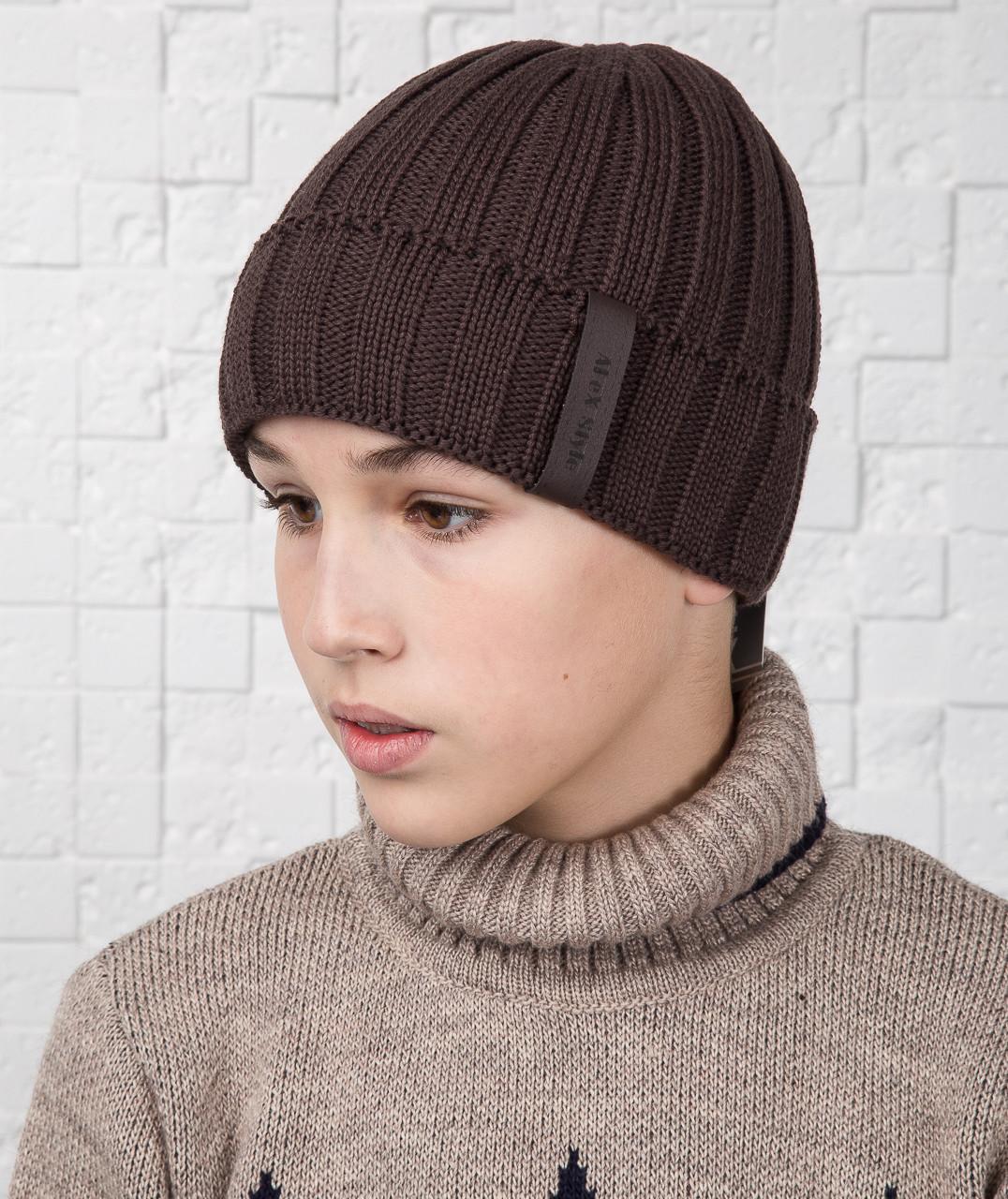 Шапка для мальчика подростка из вязки на флисе - Артикул AL17037
