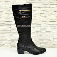 Сапоги женские кожаные демисезонные, устойчивый каблук., фото 1
