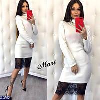 c4303949102 Стильное белое платье из ангоры с черным кружевом. Арт-12635