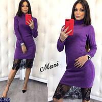 Стильное сиреневое платье из ангоры с черным кружевом. Арт-12635