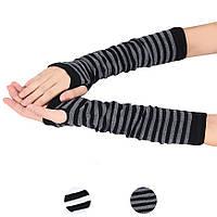 Митенки. Длинные перчатки без пальцев Черно-серые