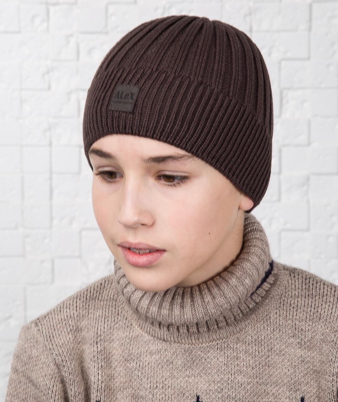 Брендовая зимняя вязаная шапка для мальчика подростка на флисе - Артикул AL17039