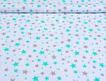 """Польская бязь """"Звёздная россыпь"""", мятно-серая  на белом фоне(№ 987), фото 4"""