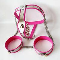 Female Adjustable Model-T Chastity Belt Vaginal and Anal Plug Removable + Thigh Bands Kit - PINK