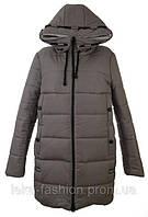 Женская зимняя куртка длинная цвет беж