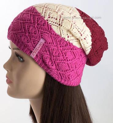 Стильная трехцветная женская шапка Миссури