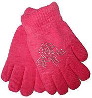 Перчатки детские на девочку С-7136 роза стразы (зима)
