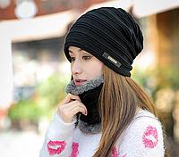 Женская вязаная шапка  + хомут