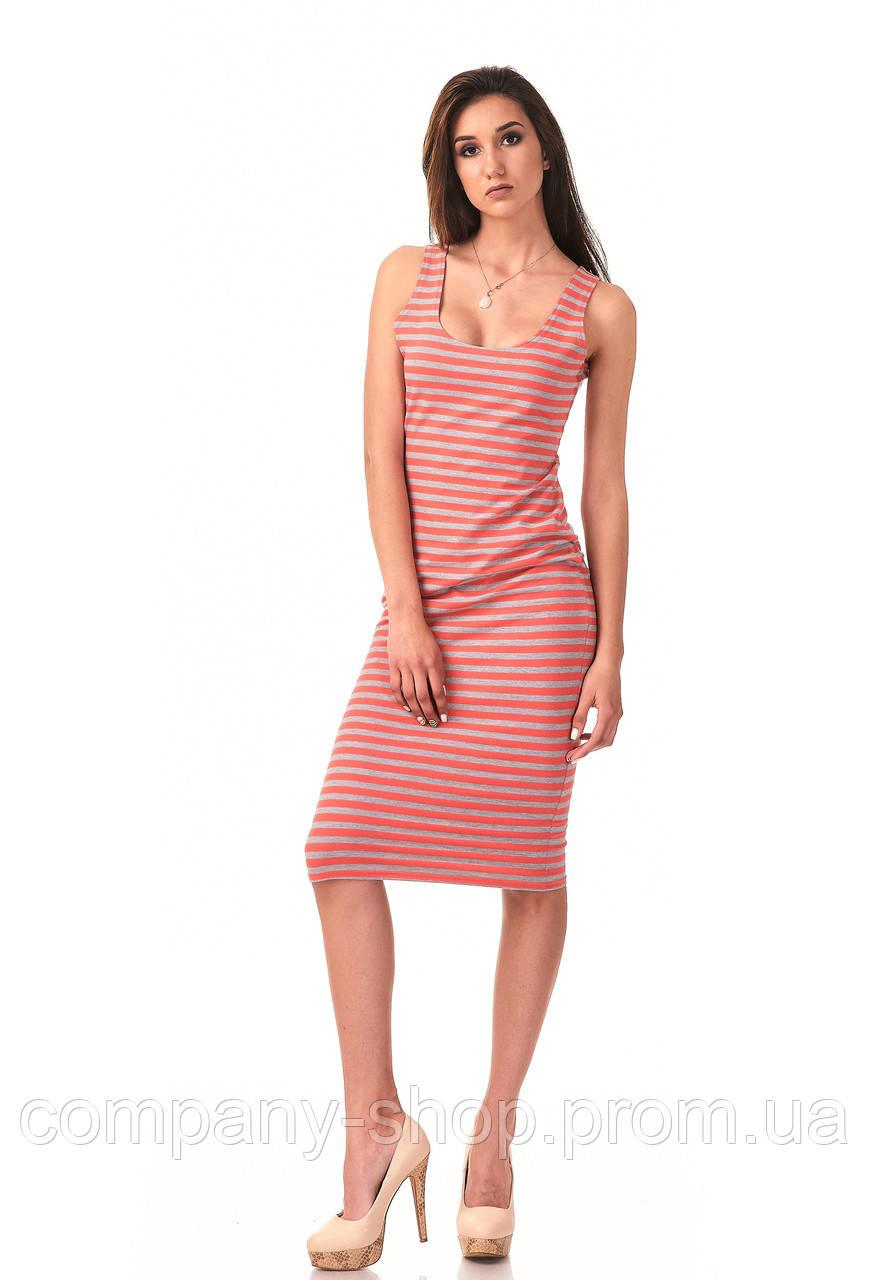 Летнее платье-майка в полоску. Модель П088_коралл двунитка.