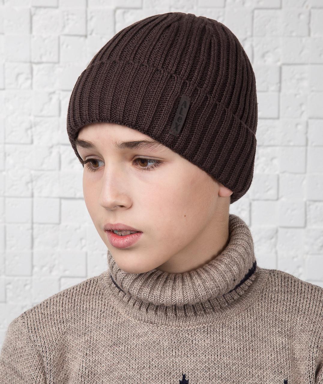 Зимняя вязаная шапка для мальчика подростка на флисе (кофе) - Артикул AL17030