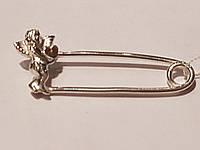 Серебряная брошь Ангел с позолотой. Артикул 72005