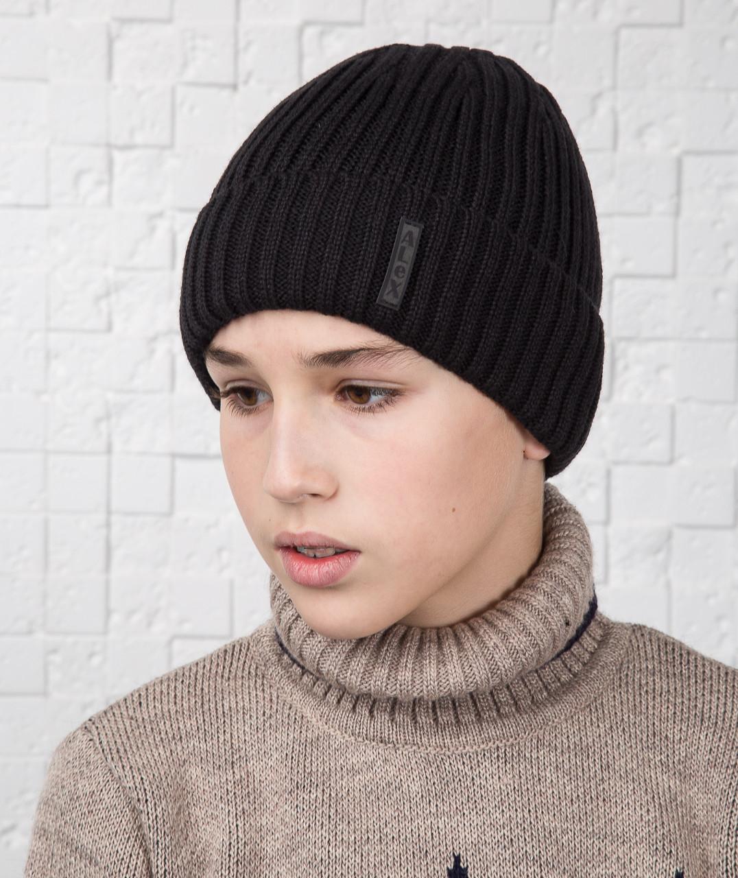 Зимняя вязаная шапка для мальчика подростка на флисе ALEX - Артикул AL17030