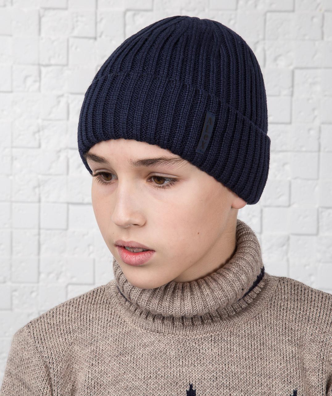 Шапка для мальчика подростка с подкачкой на флисе - Артикул AL17030
