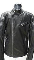 Куртка кожаная мужская на молнии-косуха чёрного цвета 44р 46р 48р