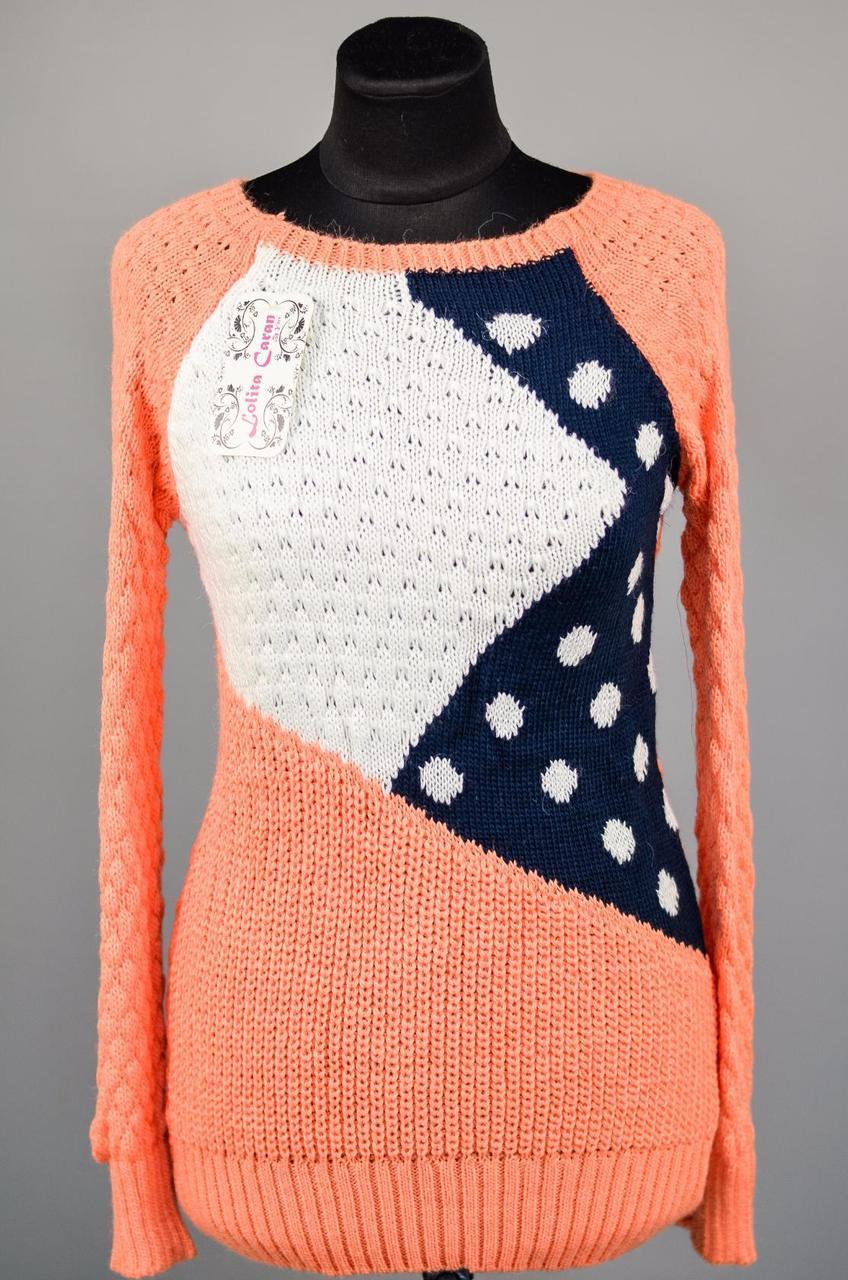 """Комфортный женский свитер """"Шерстяная вязка"""" 48, 50 размер норма"""