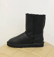 Женские классические черные кожаные угги UGG Australia Classic Short короткие