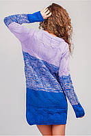 Платье женское вязаное, выше колена (сиренево-синий)