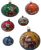 """Новогодние пластиковые шары""""Символ года"""" 8см"""