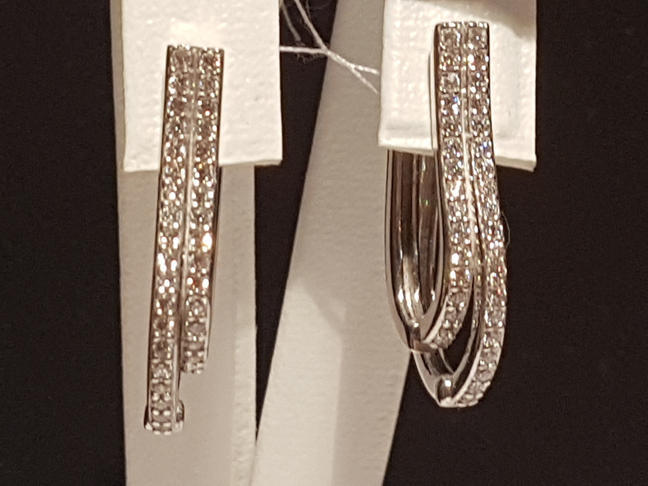 Срібні сережки з фіанітами. Артикул 2243р