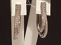 Срібні сережки з фіанітами. Артикул 2243р, фото 1