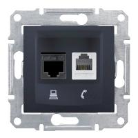 Телефонная розетка + компьютерная LAN розетка ( RJ11+RJ45, cat.5e, неэкран. UTP) графит