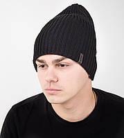 Мужская шапка на флисе черного цвета - Арт AL17027