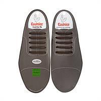 Силиконовые шнурки для кожаной обуви Coolnice Classic С02 Коричневые