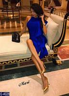 Элегантное коктейльное синее платье с большим воланом. Арт-12642
