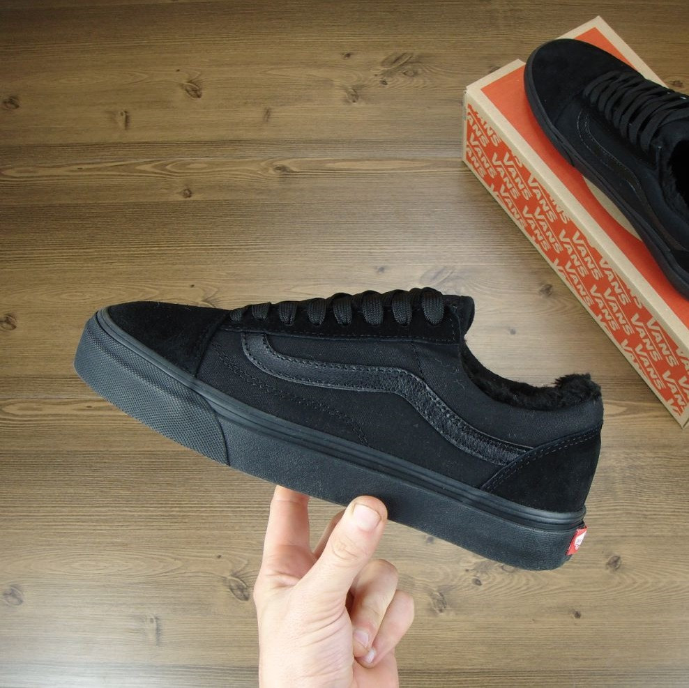 60cc804bff97 Кеды в стиле Vans Old Skool Low Winter All Black ванс унисекс (С Мехом) 42  - Bigl.ua